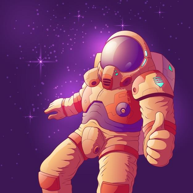 Astronauta w futurystycznym astronautycznym kostiumu pokazuje kciuk ręki up znaka Darmowych Wektorów