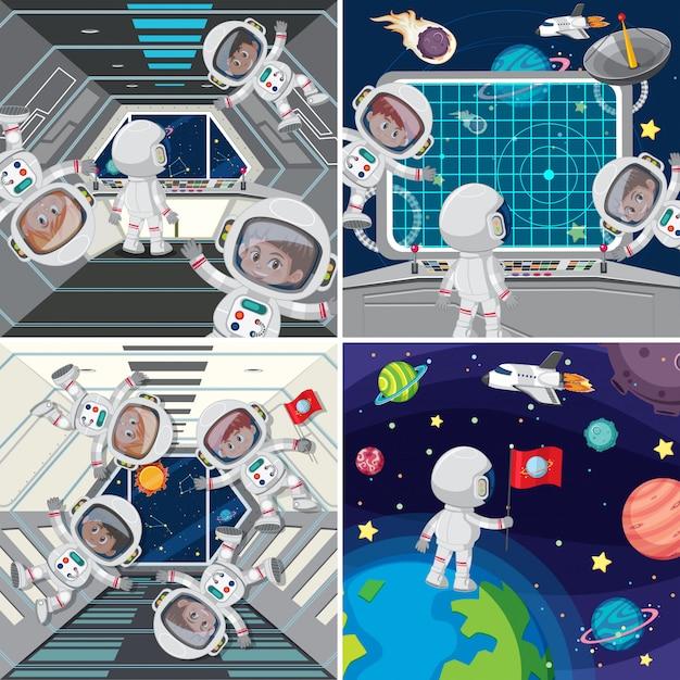 Astronauta wewnątrz statku kosmicznego Premium Wektorów