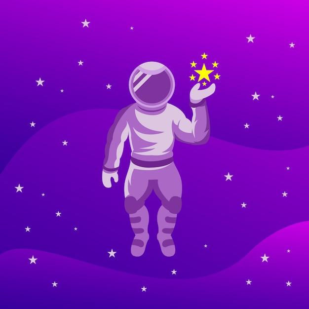 Astronauta z gwiazdami Premium Wektorów