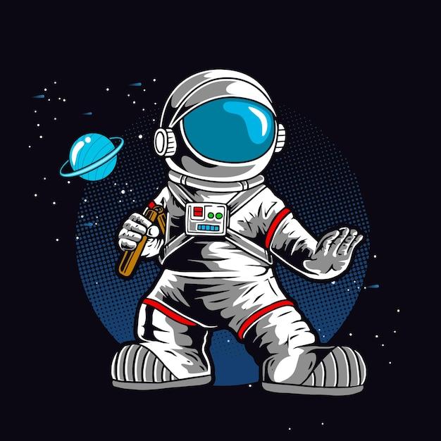 Astronauta Z Podwójnym Kijem Premium Wektorów