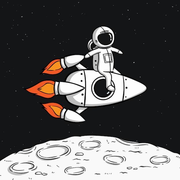 Astronauta z rakietą kosmiczną unoszącą się na księżycu Premium Wektorów