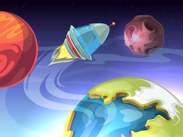 Astronautycznej Kreskówki Komiczny Tło Z Statkiem Kosmicznym I Planetami Premium Wektorów