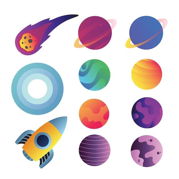 Astronautycznych ikon wektorowy inkasowy projekt Premium Wektorów
