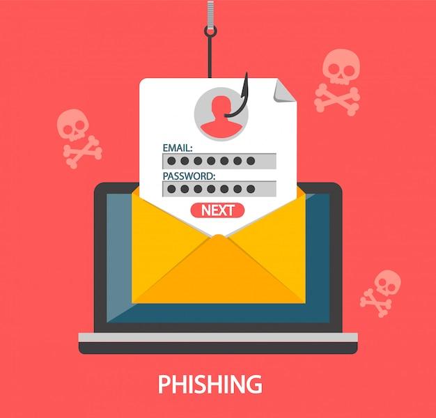 Atak Phishingowy I Hasło Na Haczyku Wędkarskim Premium Wektorów