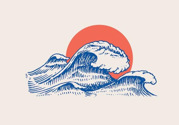Atlantyku Fale Pływowe I Czerwone Słońce Premium Wektorów