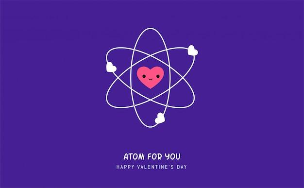 Atom Miłości. Ilustracji Wektorowych Premium Wektorów