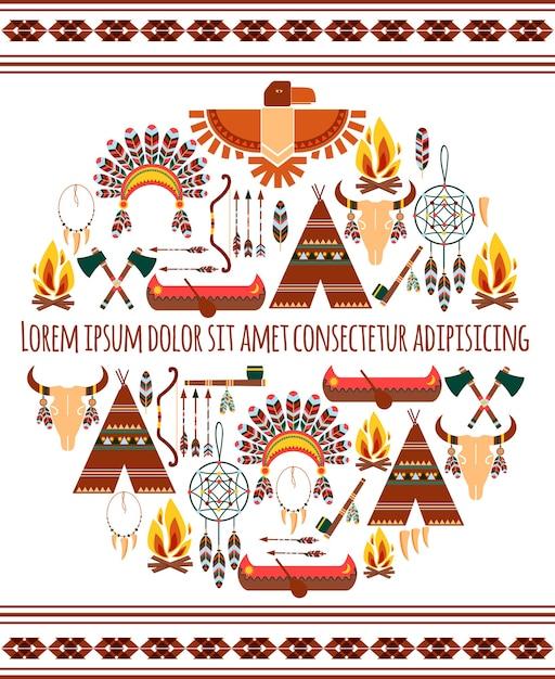 Atrakcyjne Bezszwowe Kolorowe Plemiennych Amerykański Odznaka Etykieta Na Białym Tle Darmowych Wektorów