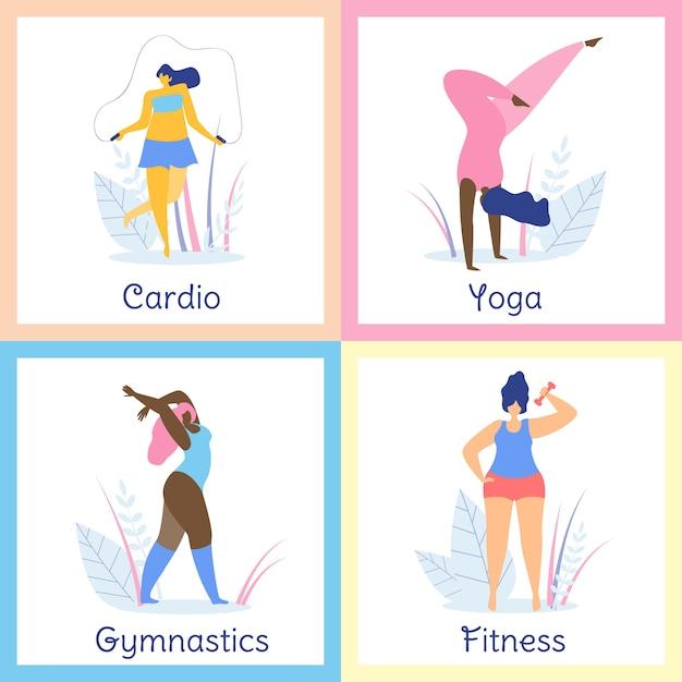 Atrakcyjne kobiety z nadwagą zdrowy styl życia. Premium Wektorów