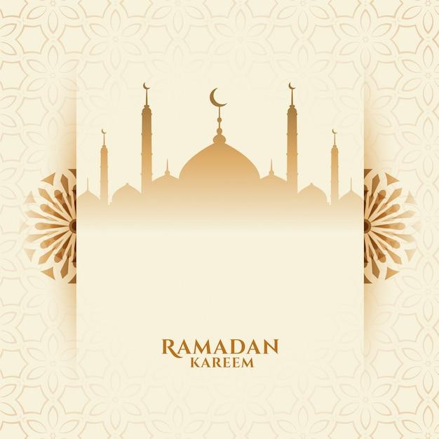 Atrakcyjny Ramadan Kareem Festiwalu Tło Z Meczetem Darmowych Wektorów