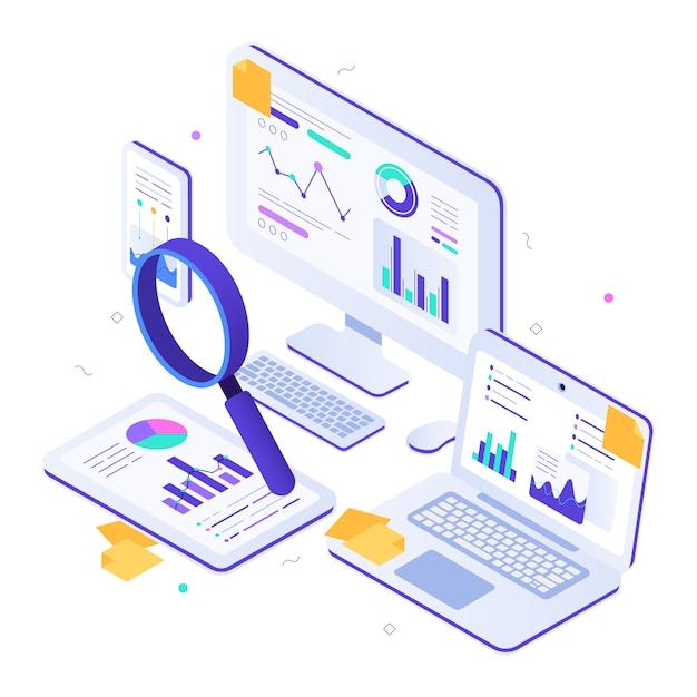 Audyt Finansowy Online. Izometryczne Wskaźniki Witryny, Kokpity Wykresów Statystycznych I Ilustracja Badań Seo Premium Wektorów
