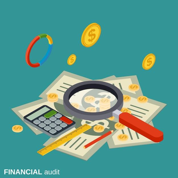 Audyt finansowy płaski koncepcja izometryczny wektor Premium Wektorów