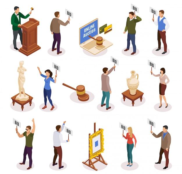 Aukcyjna Isometric I Odosobniona Ikona Ustawiająca Z Ludźmi Z Tabliczką Znamionową W Ich Rękach Ilustracyjnych Darmowych Wektorów