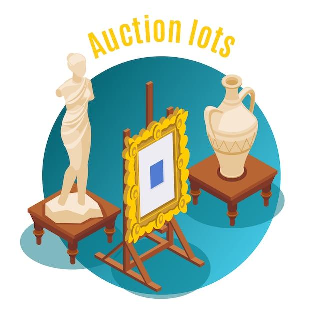 Aukcyjny Izometryczny Aukcja Partii Nagłówek I Okrągły Kształt Godło Ilustracja Darmowych Wektorów