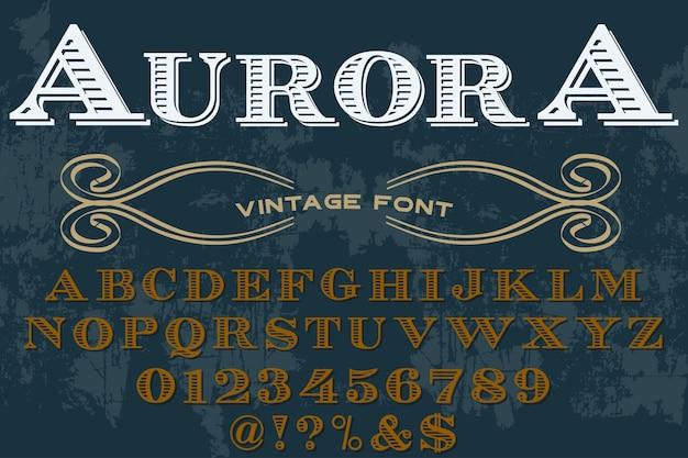 Aurora projekt etykiety typografii retro Premium Wektorów