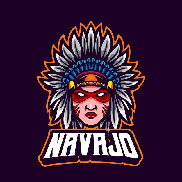 Autentyczna Amerykańska Maskotka Native Girl Premium Wektorów