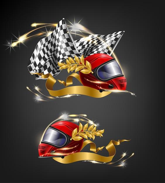 Auto, kierowca wyścigowy, czerwony zwycięzca wyścigu, kask na całą twarz z liśćmi laurowymi Darmowych Wektorów