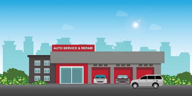 Auto Serwis I Centrum Napraw Samochodów Lub Garaż Z Samochodami. Premium Wektorów