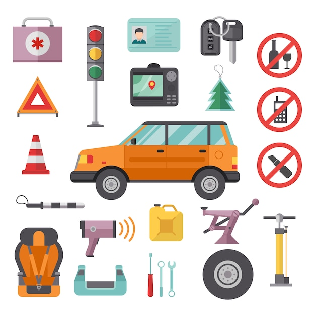 Auto Usługi Transportowe I Narzędzia Samochodowe Ikony Wysokiej Szczegółowe Zestaw. Premium Wektorów