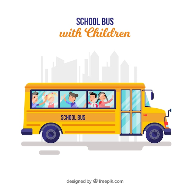 Autobus Szkolny I Dzieci O Płaskiej Konstrukcji Premium Wektorów