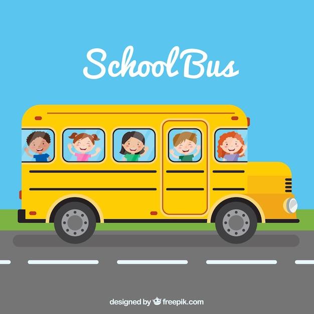 Autobus szkolny i dzieci o płaskiej konstrukcji Darmowych Wektorów