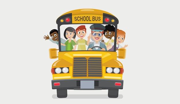 Autobus Szkolny I Szczęśliwe Dzieci Premium Wektorów