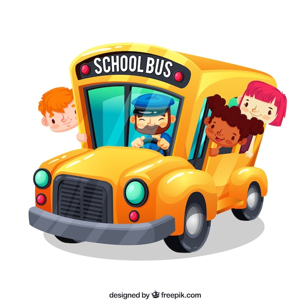 Autobus Szkolny Kreskówka I Dzieci Z Płaska Konstrukcja Premium Wektorów