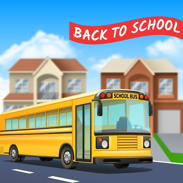 Autobus Szkolny Na Ulicy Z Powrotem Do Szkoły Tytuł Drogi I Domy Realistyczne Darmowych Wektorów