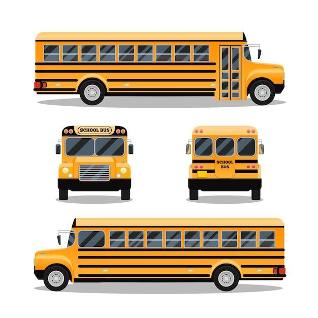 Autobus Szkolny. Transport I Transport Samochodowy, Podróż Samochodem, Darmowych Wektorów