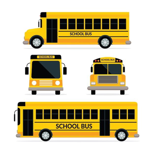 Autobus Szkolny W Kolorze żółtym Z Dwoma Typami, Widokiem Z Przodu I Z Boku Premium Wektorów