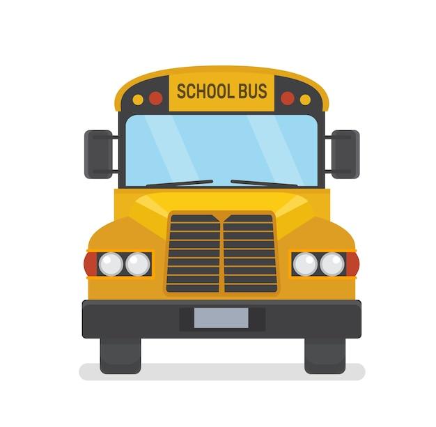 Autobus Szkolny Widok Z Przodu Płaski Ilustracja Na Białym Tle Premium Wektorów