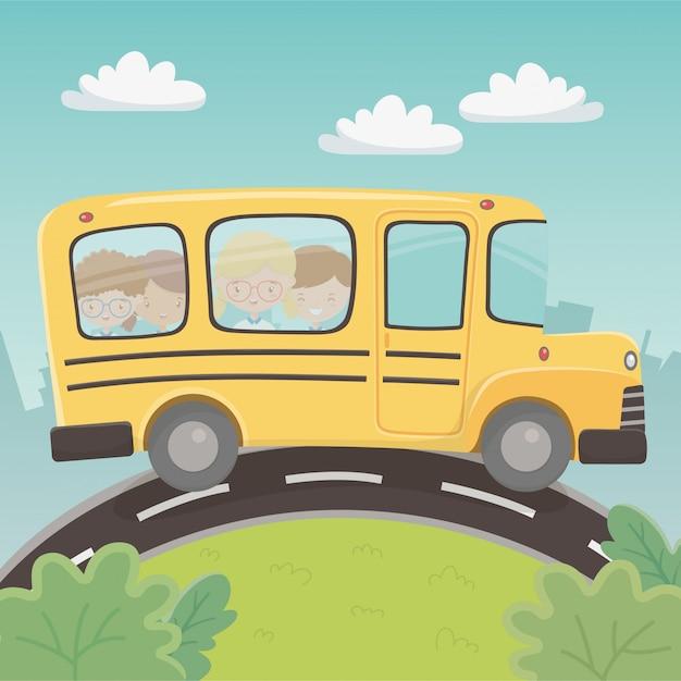 Autobus szkolny z grupą dzieci w krajobrazie Darmowych Wektorów