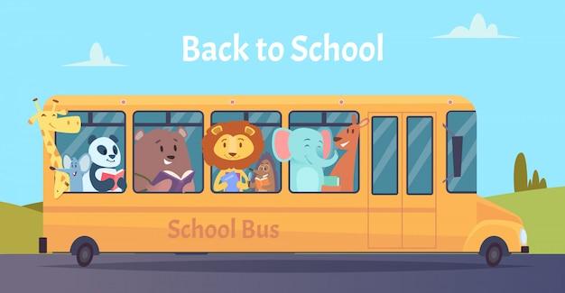 Autobus Szkolny. Zwierzęta Z Zoo Znaków Z Powrotem Do Szkoły Na żółty Autobus Koncepcja Edukacji Uczenia Się Premium Wektorów