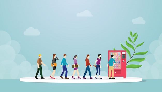 Automat z kolejką z wielu osób koncepcji Premium Wektorów