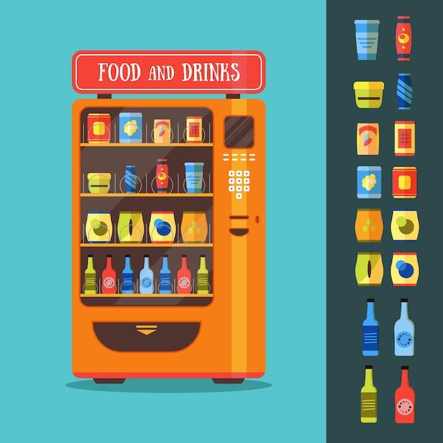 Automat Z Zestawem Do Pakowania żywności I Napojów Premium Wektorów