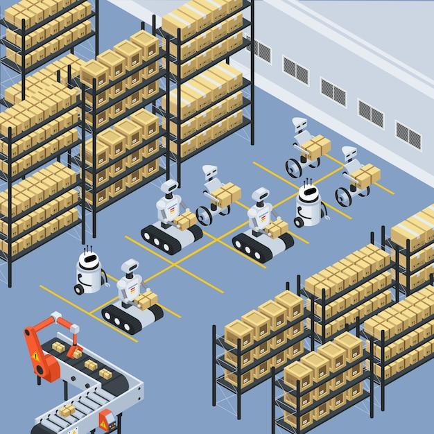 Automatyczna dostawa logistyczna skład izometryczny Darmowych Wektorów