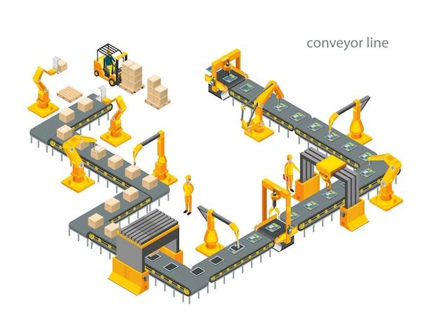 Automatyczna Fabryka Z Taśmociągiem I Ramionami Robotów. Proces Składania. Ilustracja Premium Wektorów