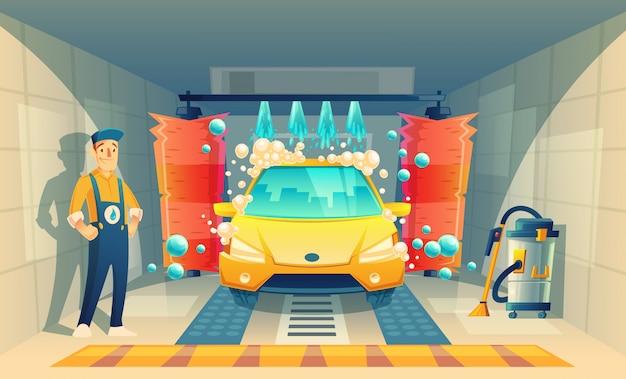 Automatyczne mycie samochodu, serwis z postacią z kreskówek w pudełku, żółty pojazd wewnątrz garażu Darmowych Wektorów