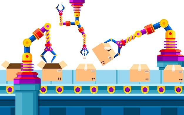 Automatyka Przemysłowa. Technologia Ramienia Robota Na Linii Montażowej. Zautomatyzowane Ramiona Robotów. Zrobotyzowany Przenośnik Taśmowy Do Pakowania Produktów W Pudełka Kartonowe. Ilustracja. Premium Wektorów