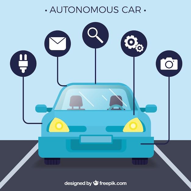 Autonomiczna Koncepcja Samochodu Z Płaską Konstrukcją Darmowych Wektorów