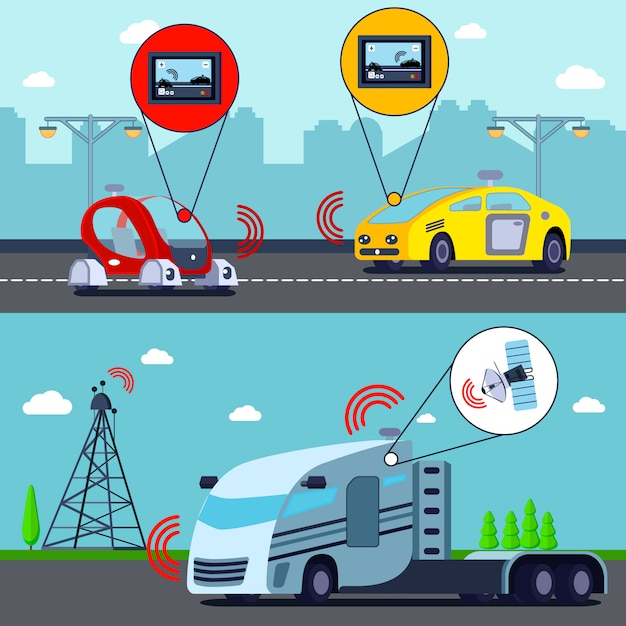 Autonomiczne Pojazdy Bez Kierowcy Darmowych Wektorów