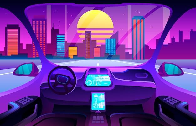 Autonomiczne Wnętrze Inteligentnego Samochodu Premium Wektorów