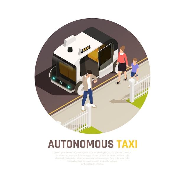 Autonomicznego Samochodu Bez Kierowcy Kierowcy Mechaniczny Transport Isometric Sztandar Z Autonomiczną Taxi Opisu Wektoru Ilustracją Darmowych Wektorów