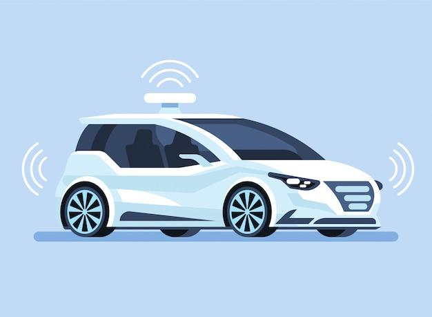 Autonomiczny Samochód Samobieżny Premium Wektorów