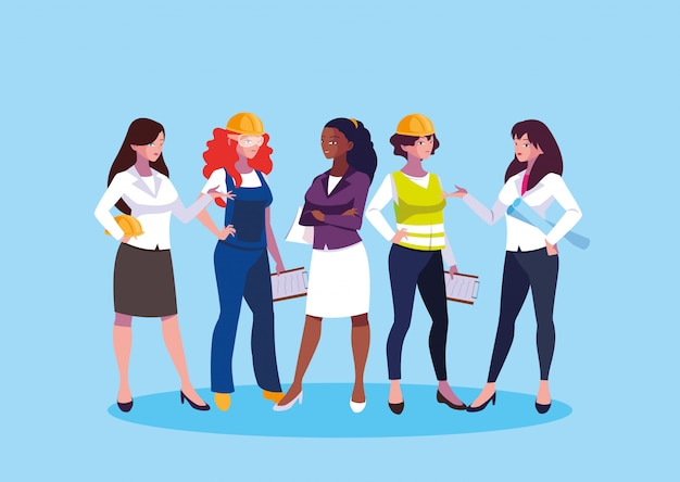 Avatar inżynier kreskówek dla kobiet Premium Wektorów
