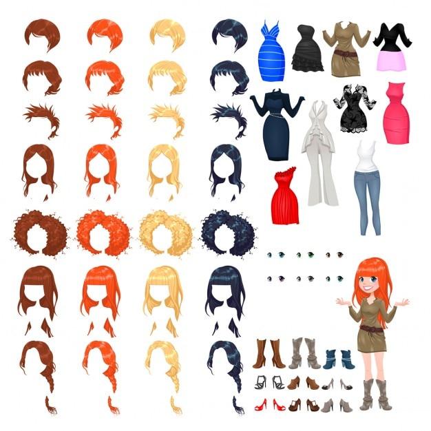Avatar kobieta ilustracji wektorowych pojedyncze obiekty 7 fryzury z 4 kolorów każdy z nich 10 różnych kolorów sukienek 6 oczy 9 buty Darmowych Wektorów