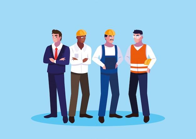 Avatar kreskówek inżynier mężczyzn Premium Wektorów