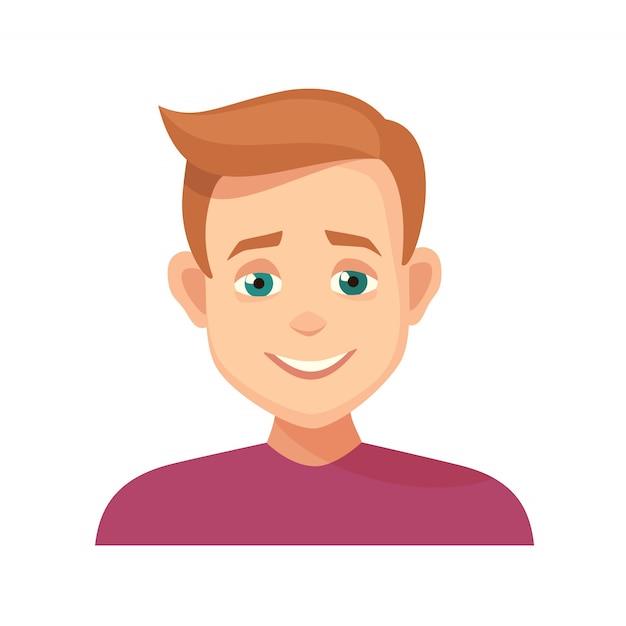 Awatar uśmiechnięty chłopak wyraz twarzy. ikona na białym tle Premium Wektorów