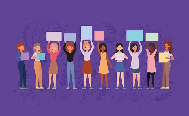 Awatary Kobiet Posiadających Banery Premium Wektorów