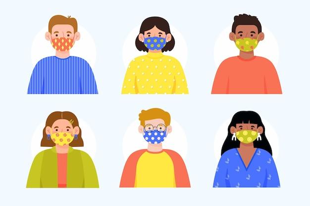 Awatary W Maskach Z Kropkowanymi Tkaninami Darmowych Wektorów