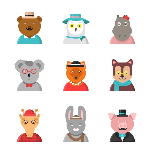 Awatary Zwierząt, śliczne Hipster Zwierząt Lis Niedźwiedź Pies żyrafa Sowa W Zabawnych Ubraniach I Akcesoriach Płaskich Postaci Premium Wektorów